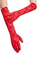 Кружевные длинные перчатки красные