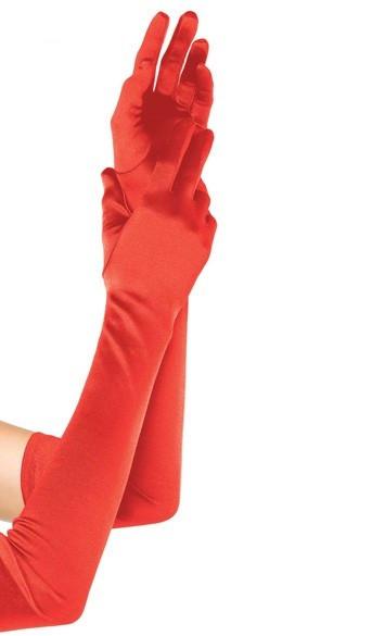 Длинные перчатки красные