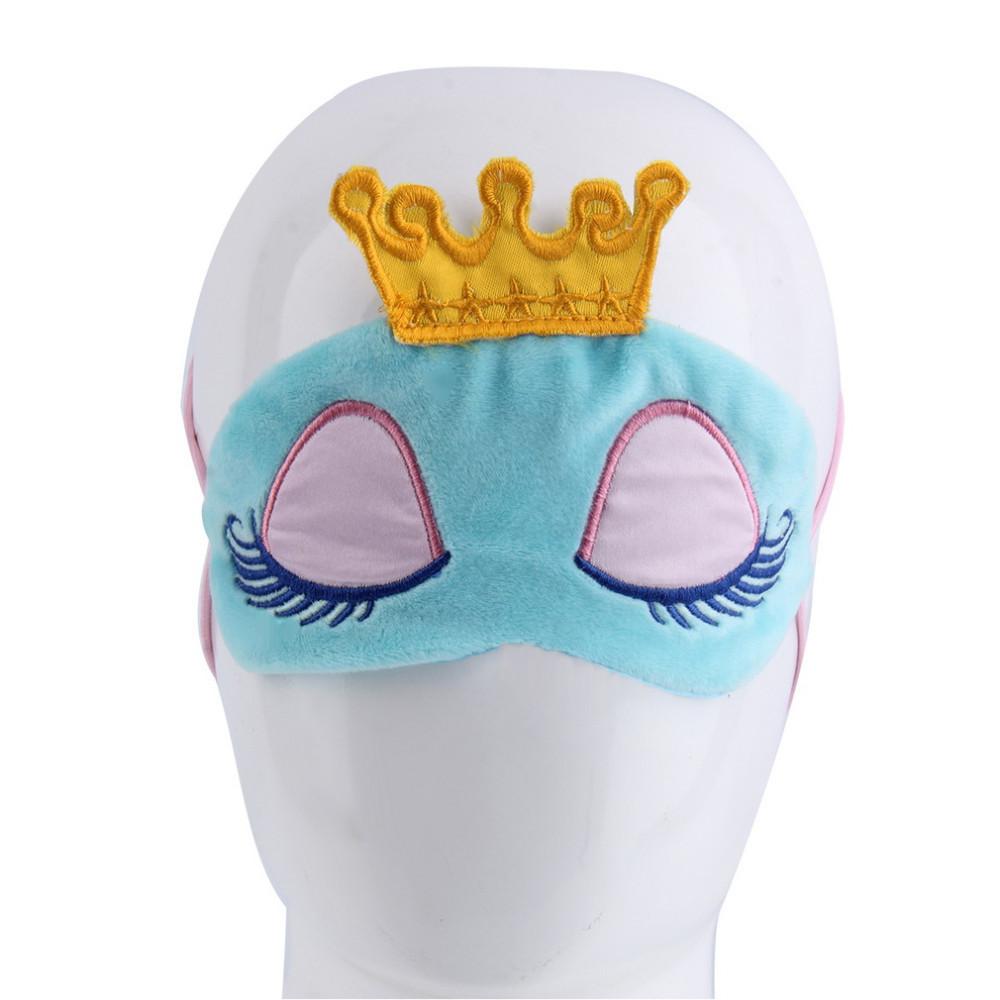 Маска для сна голубая с короной