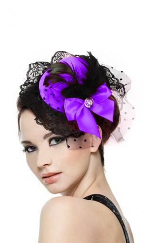 Шляпка с бантиком фиолетовая