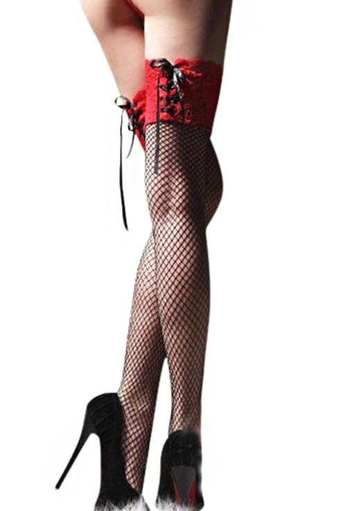 Чулки на шнуровке с красной резинкой