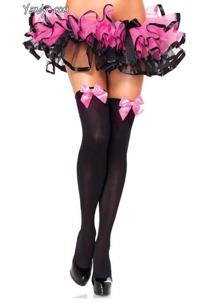 Чулки черные с розовыми бантами