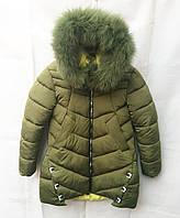 Полу-пальтозимнее подростковоедля девочки 8-12лет,цвет хаки с мехом