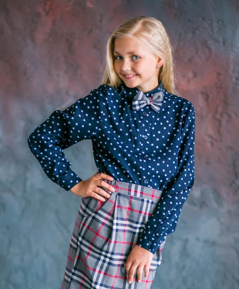 Блуза для девочки Горох, синяя (р.128,134,140)