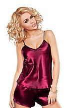Атласна піжама бордового кольору