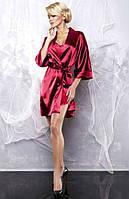 Атласный халат и пижама бордового цвета
