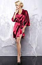 Атласний халат і піжама бордового кольору