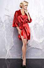 Атласний халат в комплекті з піжамою червоний