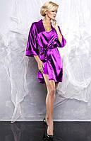Атласный халат в комплекте с пижамой фиолетовый