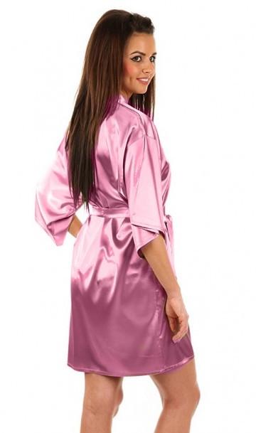 Атласный халатик с пеньюаром нежно-розовый