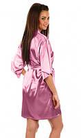 Атласный халатик с пеньюаром нежно-розовый, фото 1
