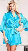 Атласный халат в комплекте с пеньюаром голубой