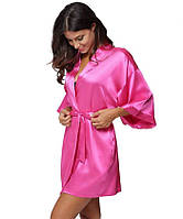 Атласный халат с пеньюаром розовый