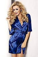 Атласный халат синий
