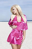 Атласный комплект халат и пижама розовый