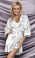 Атласный комплект халат и пижама белый