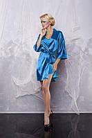 Атласный комплект халат и пижама голубой, фото 1
