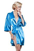 Атласный халат голубой