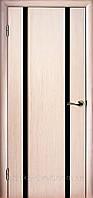 Двери ГЛАЗГО-2 Беленый дуб Черный триплекс