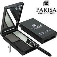 Parisa - Тени-корректор для бровей BK-01 2-цветные с гелем Тон 01 черные, серые
