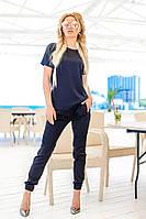 Женский шелковый костюм со штанами и футболкой (черный) Love KAN № 0106