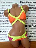 Бандажный купальник триколірний жовтий, фото 3