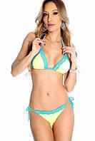 Кружевной купальник желтый с голубым