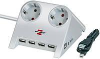 Удлинитель 2 розетки; USB 4 порта; кабель 1,8 метра; кабель 5 В; белый, фото 1