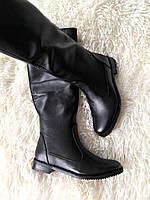 Женские осенние сапоги низкий ход кожа/замша черные