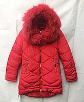 Полу-пальтозимнее подростковоедля девочки 8-12лет,красное с мехом