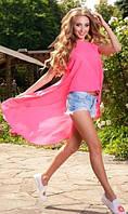 Пляжная туника удлиненная розовая