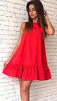 Красное платье свободного кроя с воланами