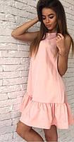 Розовое платье свободного кроя с воланами