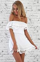 Пляжный сарафан белый с открытыми плечами