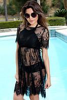Кружевное пляжное платье черное