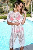 Кружевное пляжное платье белое
