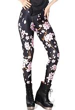 Легінси чорні з рожевими квітами