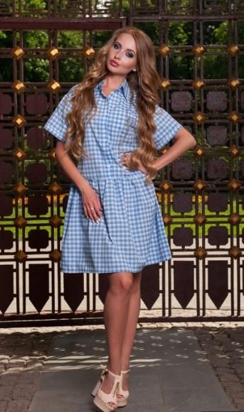 Сукня сорочка в біло-блакитну клітинку