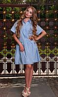 Платье рубашка в бело-голубую клеточку