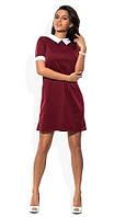 Офисное платье с коротким рукавом красное