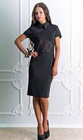 Платье джерси с коротким рукавом черное