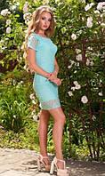 Ажурное платье ментоловое