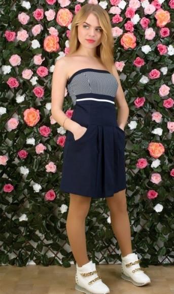 Синее летнее платье без бретелей