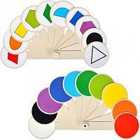 Изучаем цвета и геометрические фигуры - веер пластик двухсторонний