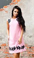 Платье с вышивкой розовое