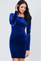 Платье из бархата синего цвета