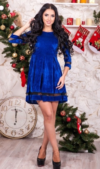 Бархатное платье беби долл синее