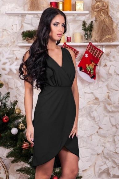 Платье с запахом черного цвета