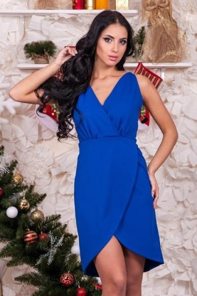 Плаття синього кольору з запахом