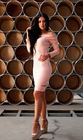 Платье с разрезами нежно персиковое